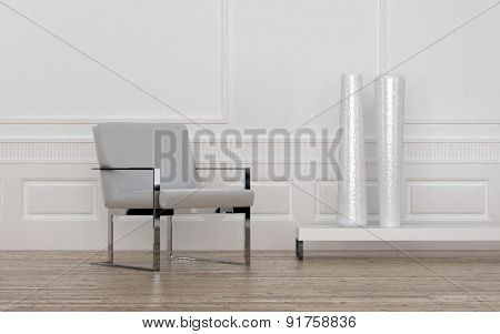 Contemporary Grey and Metal Chair and Tall White Vases on Low Shelf in Empty Room with Wood Floor and White Wall with Wainscotting. 3d Rendering.