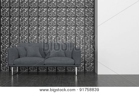 Grey Love Seat with Cushions in front of Decorative Metal Screen in Contemporary Room with White Walls. 3d Rendering.