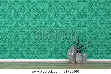 Assortment of Contemporary Vases with Twigs in Empty Room with Wood Floor and Wall Decorated with Green Patterned Wall Paper. 3d Rendering.