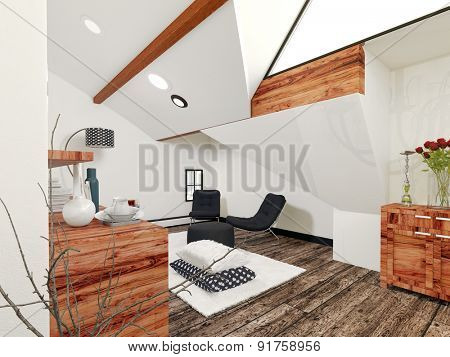 Architectural Interior of Sitting Room in Modern Home Decorated with Wooden Accents and Simple Contemporary Furniture. 3d Rendering.