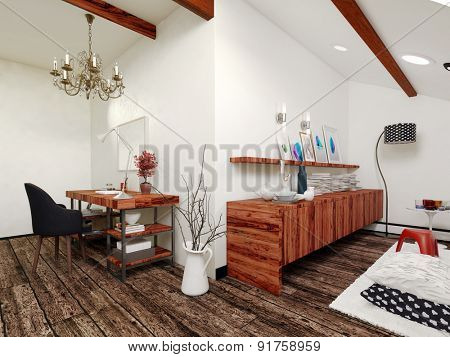 Architectural Interior of Sitting Room in Modern Home Decorated with Wooden Shelving, Chandelier and Simple Contemporary Furniture. 3d Rendering.