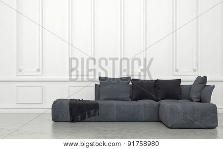 Plush Grey Sectional Sofa with Cushions and Throw in Sparsely Decorated Room with White Walls and Wainscotting. 3d Rendering.