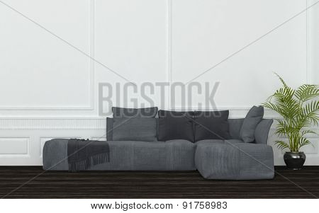 Plush Grey Sectional Sofa with Cushions, Throw and Potted Plant in Sparsely Decorated Room with White Walls and Dark Wood Floor. 3d Rendering.