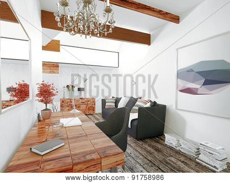 Floating Wooden Desk with Chandelier and Black Furniture in Modern Home with Wood Floors and Bright White Walls. 3d Rendering.