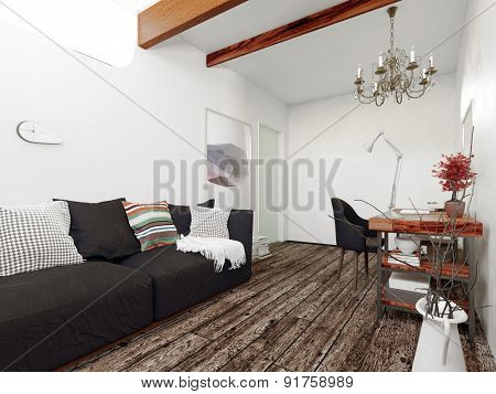 Architectural Interior of Modern Home, Sitting Room Decorated with Black Sofa, Floating Desk and Chandelier in Room with Wooden Floors. 3d Rendering.