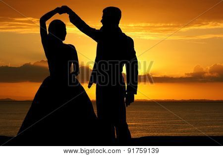 Woman in a beautiful wedding dress with groom