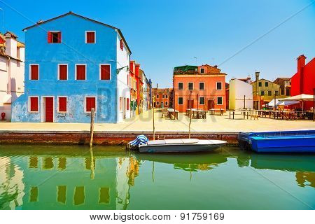 Venice Landmark, Burano Old Market Square, Colorful Houses, Italy