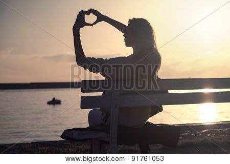 Romantic Girl On Sunrise.