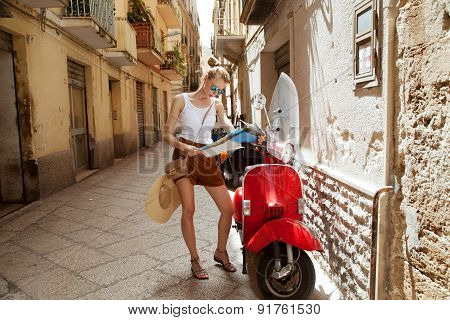 Blonde Girl With Map.