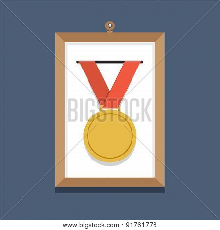 Golden Medal In A Picture Frame.