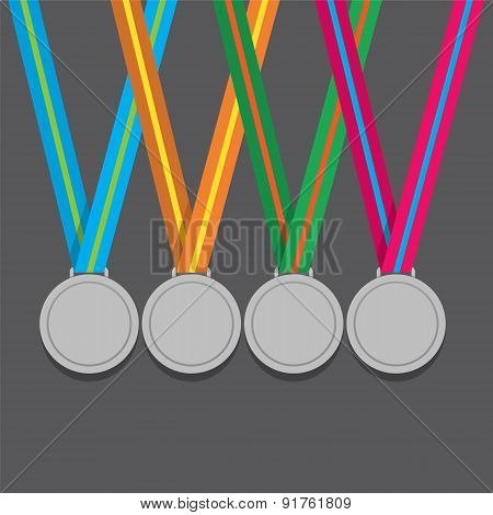 Many Silver Medals With Colorful Ribbon.