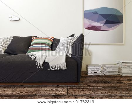 Plush Black Sofa with Cushions and Throw in Room with Hard Wood Floor and Modern Artwork Hanging on Wall. 3d Rendering.