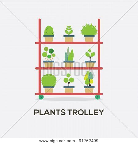 Flat Design Plants Trolley.