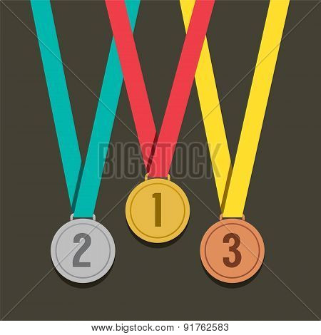 Three Golden Medals With Number.