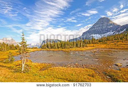 Alpine Pond On A Fall Day On A Mountain Pass