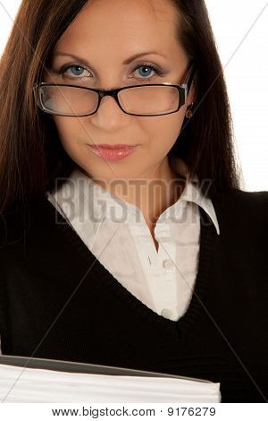 Self-confident Businesswoman In Glasses Looking To The Camera