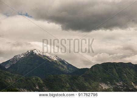 Mountain range, snow covered peak
