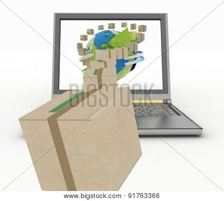Concept of online goods orders worldwide. 3d illustration on white background