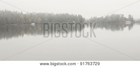 Foggy Lake In Norway, Maine, Usa