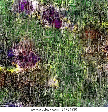Grunge stained texture, distressed background with space for text or image. With different color patterns: brown; gray; purple (violet); green