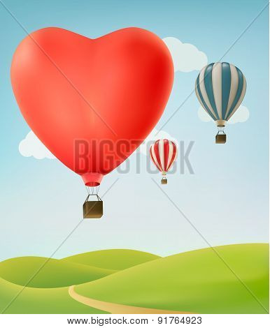 Nature Background With Colorful Air Balloons And Green Land. Vector Illustration