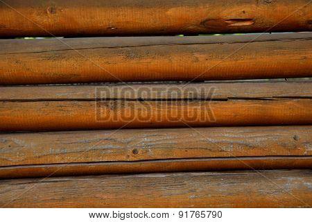 Wooden Wall. Beam.