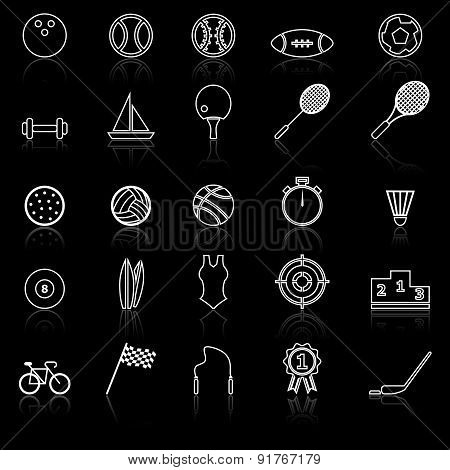 Sport Line Icons With Reflect On Black