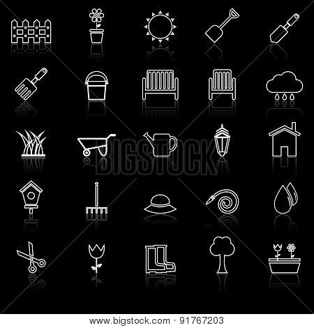 Gardening Line Icons With Reflcet On Black