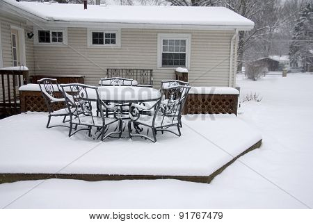 Backyard Deck In Winter