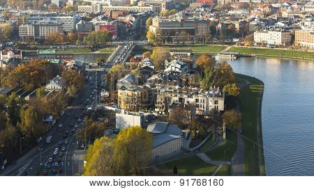 KRAKOW, POLAND - CIRCA OCT, 2013: Aerial view of one of districts in historical center of Krakow. This year the city was visited by 8.1 million tourists, which is the highest level.
