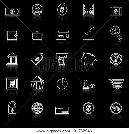 Money Line Icons With Reflect On Black