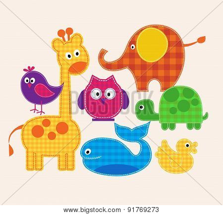 Vector colorful animals set  for kids