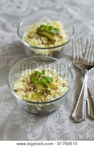 Russian salad with meat and pickles