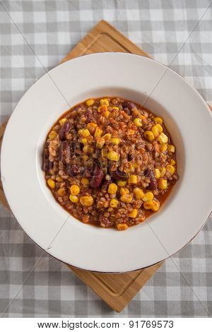 Fresh made Chili con Carne on a plate