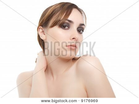 Nude  Beautiful Woman Looking To The Camera