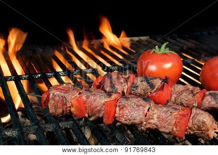 Bbq Beef Shish Kebabs On The Hot Flaming Grill