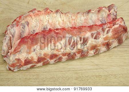 Raw Pork Spareribs Close-up