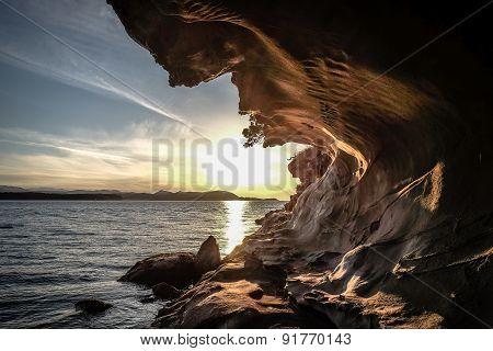 sandstone sea cave