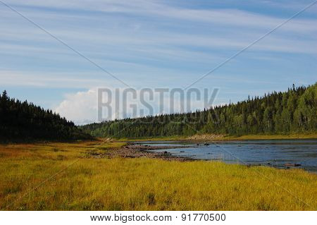 Landscape of the taiga river.