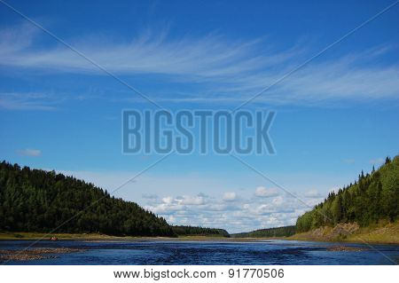 Beautiful landscape of the wild taiga river.
