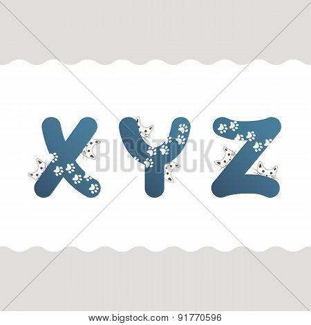 Set of cat letters