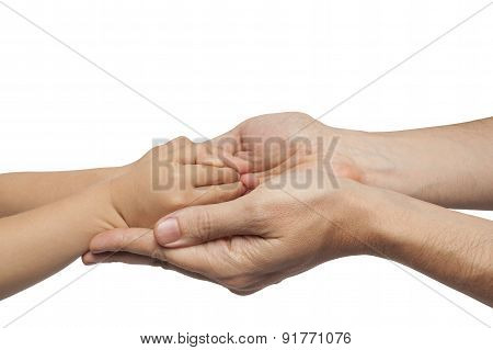 Father And Son Holding Hands On White Background