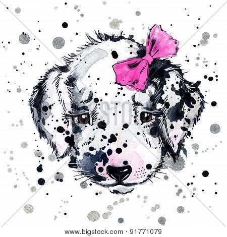 Funny puppy dog watercolor