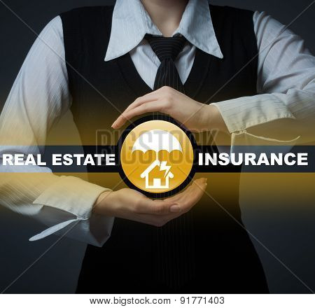Business, Insurance Concept. Man Holding A Symbol Of Real Estate Insurance, Home Insurance.