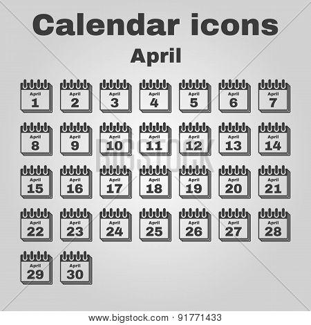 The Calendar Icon. April Symbol. Flat