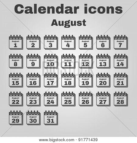 The Calendar Icon. August Symbol. Flat