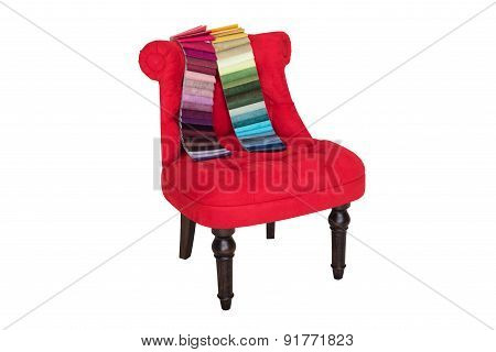 Red Chair In Baroque Style And Color Samples Of Fabrics