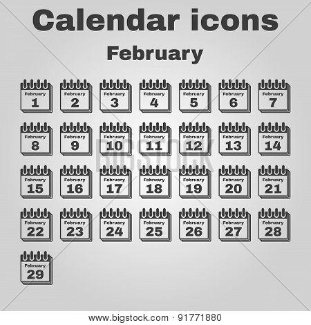 The Calendar Icon. February Symbol. Flat
