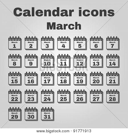The Calendar Icon. March Symbol. Flat