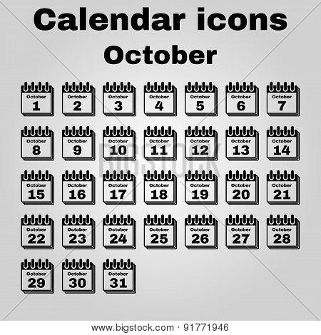 The Calendar Icon. October Symbol. Flat